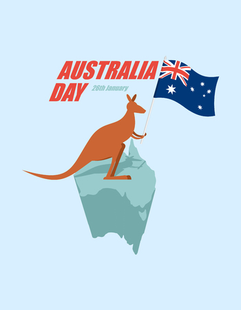 marsupial: Day Australia. Patriotic holiday State. Kangaroos and Australian flag. Map of Australia and marsupial.