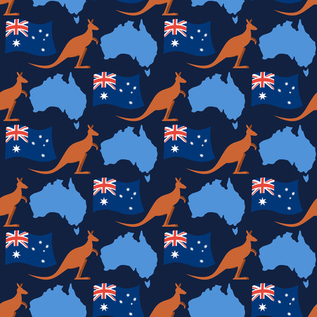 national hero: Australia day seamless ornament. Kangaroos and flag of Australia. Continent map of State of Australia.