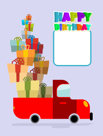 multiple birth: Happy birthday. Truck with gifts. Car and lots of gift boxes. Congratulation card. Place text and congratulations. Fun machine for happy holiday. Illustration