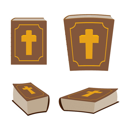 Bible is Holy Book set. Different version of Holy Book of ancient thick. Closed book. Christian Bible is decorated with cross.
