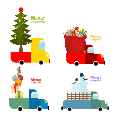 Transport set for Merry Christmas. Machine carries Christmas tree with star. Truck and red Santa bag. Car and lots of gifts for children. Snowman in truck. Collection of illustrations for Christmas and new year. Illustration