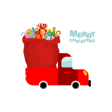 sack truck: Merry Christmas. Machine carries bag of gifts. Car and Red sack Santa Claus. Christmas Santas transport. Truck and big bag of toys for children.