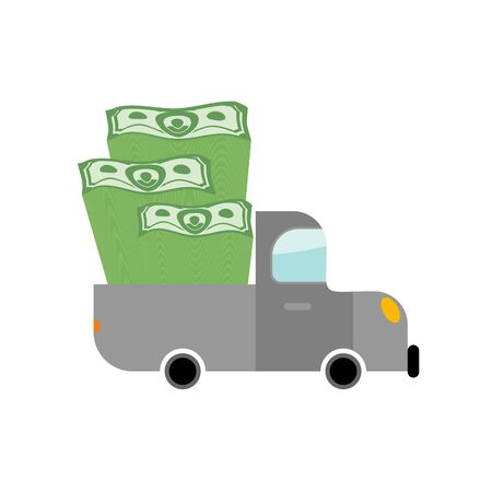 scrooge: Car and money. Pile of dollars in trunk of your truck. Machine carries stack of cash dollars. Transport Scrooge. Car for lucky winner. Illustration