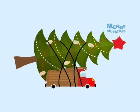 Truck carries Christmas tree. Car and decorated holiday tree. Merry Christmas. Illustration for  new year or Christmas. Machine and magical Christmas tree with red star.