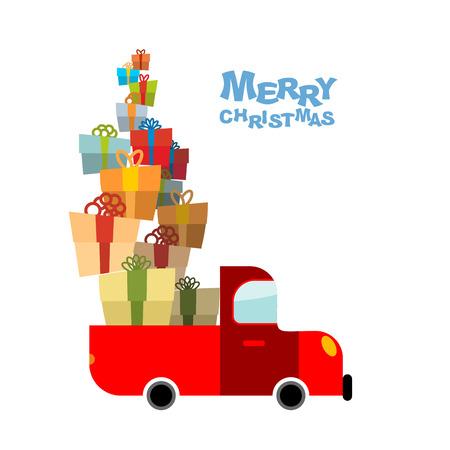 Fröhliche Weihnachten. Auto und viele Geschenk-Box. LKW-Bündel Feriengeschenk. Auto trägt Geschenke für Kinder. Illustration für Weihnachten und Neujahr.