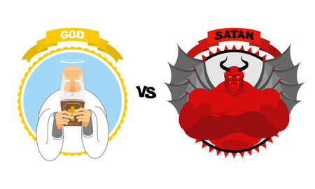 God vs Satan. Good grandfather with white beard and Halo above his head holds Bible. Dreaded Red Devil with horns and wings. Confrontation of good and evil. Avatars for battle of heaven and hell. Vektoros illusztráció