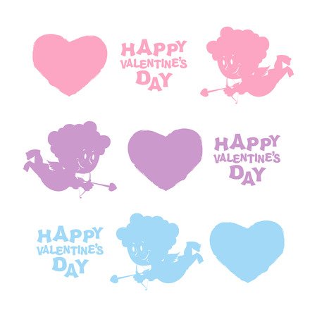amur: Set Valentines day. Heart, Cupid, and text. Cute Angel silhouette and bow and arrows. Illustration