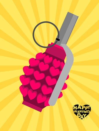 Love bomb. Breaking a pomegranate with hearts. Charge of love for Valentines day. Breaking explosives-weapons of Cupid. Explosive for love Angel. explosive ammunition of love. love bomb of mass destruction