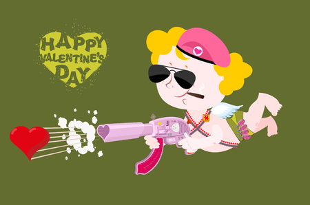 love dynamite: Happy Valentines day. Army Valentine. Military Cupid. Angel with love machine gun. Little soldiers in service of love. Cartridge belt and bomb with love for mass destruction. Illustration