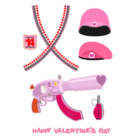 Weapons Cupid Set. Military love accessories. Breaking guarantor with love. Cartridge belt love. Pink helmet and army beret. Love accessories war on February 14. Happy Valentines day.