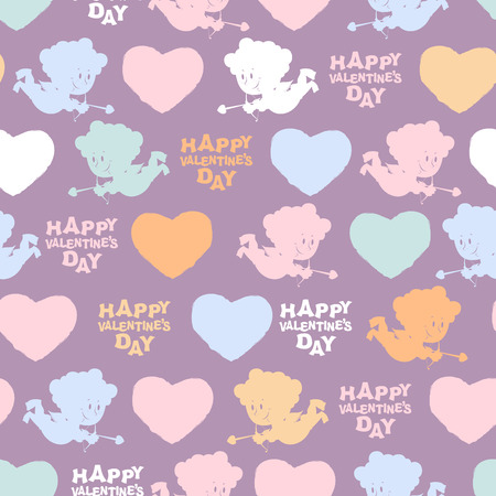 14 february: Romantic seamless pattern: Cupid and hearts. Happy Valentines day. Background for Valentine for 14 february