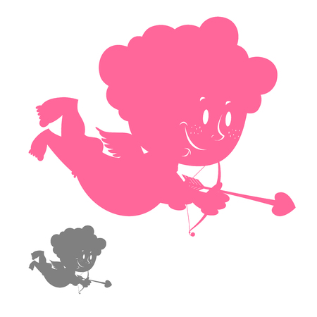 outline red: Cupid silhouette. Pink Angel with a smile. Hilarious cute Cupid. Character for Valentines day.