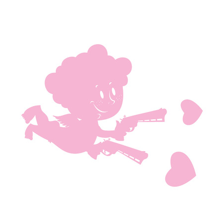 marriage cartoon: Cupid and love guns. Silhouette of little angel with smile. weapon of love. Revolvers, charged hearts. Character for valentines day.
