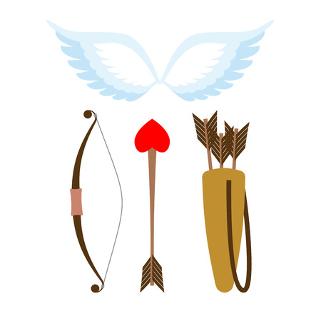 white bow: Cupid weapons set . Bow and arrow with heart. Quiver with arrows. Angel wings. Cupids wings. Illustration