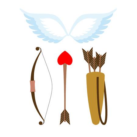 arco y flecha: establecen las armas de Cupido. Arco y flecha con el corazón. Carcaj con flechas. Alas de angel. Cupidos alas.