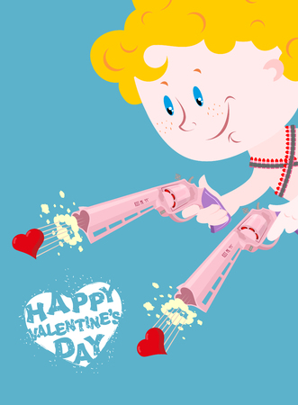 frizz: Valentine. Happy Valentines day. Cupid and Colt. Two pistols of love. Merry Angel shoots in heart. Illustration for lovers day 14 february. Cute Angel with blue eyes. Cartridge belt with bullets hearts.