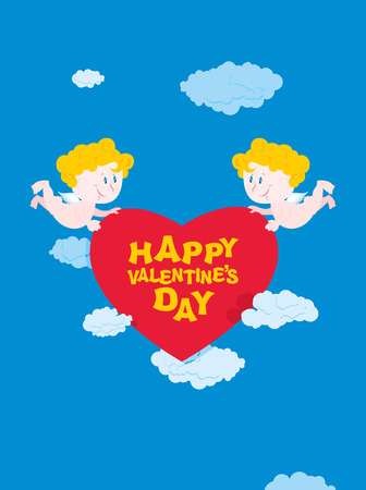 holyday: Romantic Valentine. Cupid and heart. Happy Valentines day. Two good Angel bear heart. Cupid in sky. Holyday on 14 February for lovers day
