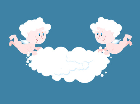 keep in: Angel and cloud. Two little Angels keep cloud. Place for your text. Celestial cute kids in clouds. Little Saints Cherub Illustration