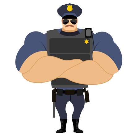 Police in flak vest. Powerful policeman in police uniform. Servant of  law with a mustache. Serious man with strong hand. Crossed hands on chest of  athlete. Strongman in uniform. Police officer on duty.