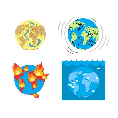 世界の黙示録の種類終わり。地球災害。地球の大惨事のセットです。干ばつ - 地球の亀裂。地球の地殻の地震発生。大陸の破壊。火 - 火は ontinents。洪水-惑星表面の洪水します。
