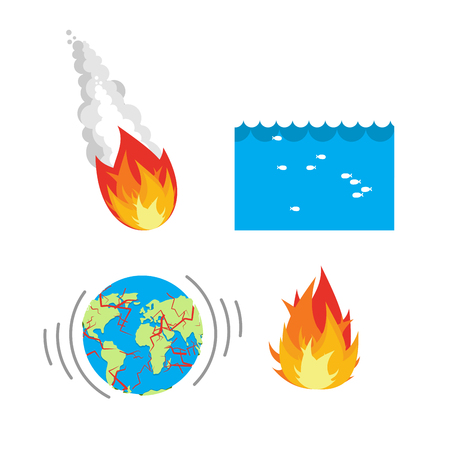 civilization: Natural disaste rplanet Earth. Meteorite flies to Earth. Flood, flooding. An earthquake split Earths crust. Crack on planet Earth. Fire is sign of fire. Set of disasters for people. threat to civilization. Danger on planet Illustration