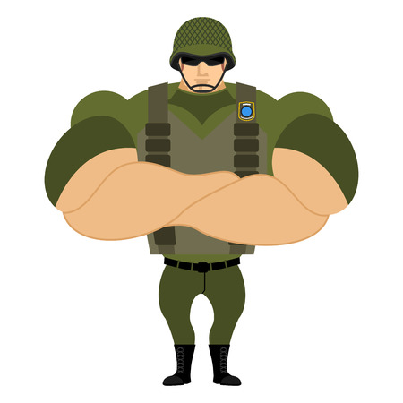 infantryman: Soldiers in flak vest. Military helmet. Powerful soldiers in protective clothing. Strong army man. Veteran of war. Serious and heavy Infantryman. Illustration