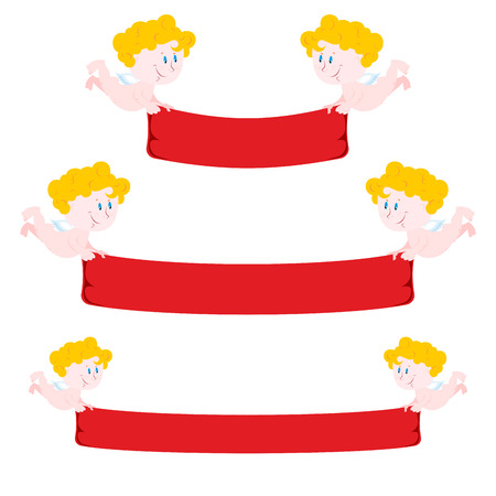 amur: Cupid and red Ribbon. Set  Ribbon varying length. Cute little angel keeps  Ribbon to bring for your text. Set for St. Valentines day. Illustration