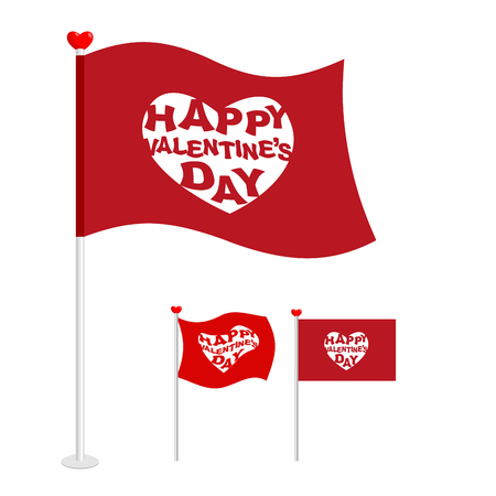 to pierce: Red flag for Valentines day. Logo for holiday heart, Pierce arrow of Cupid. Standard for holiday lovers.