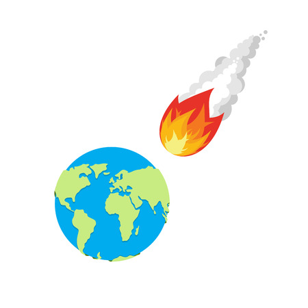 end of the world: Meteor and Earth. Fireball flies on planet Earth. Approaching catastrophe. Fiery Comet and planet. Coming end of the world. Danger for  Earth Illustration