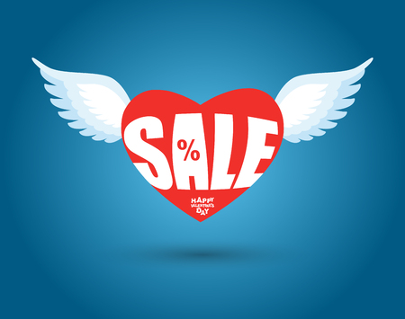 14 of february: Valentines day sale. Red heart with wings. Sales, discount in February. 14 February holiday lovers. Clearance sale for lovers.