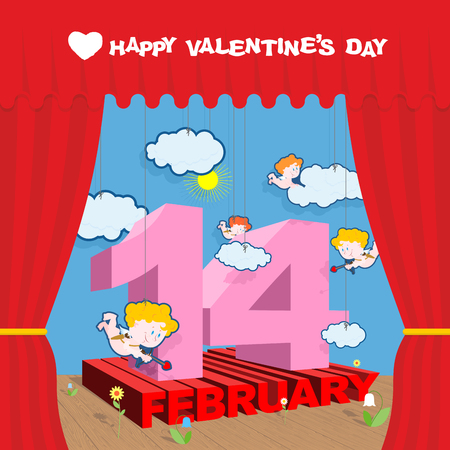 staging: Happy Valentines day. Stage and Red Curtain. Theatrical staging and scenery. Volume letters. Cupid and clouds. Decorative paper flowers. Illustration for February 14 Valentines day.