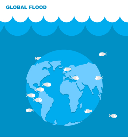 deluge: Flooding of planet Earth. World in water. Land under water. Ocean and fish. Lovely planet. Natural disaster. Cataclysm on Earth. Universal deluge.