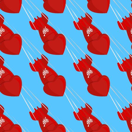 ballistic: Ballistic missiles love. Shells fall down from sky. Red bomb love for Saint Valentines day. Seamless pattern for day lovers on 14 February
