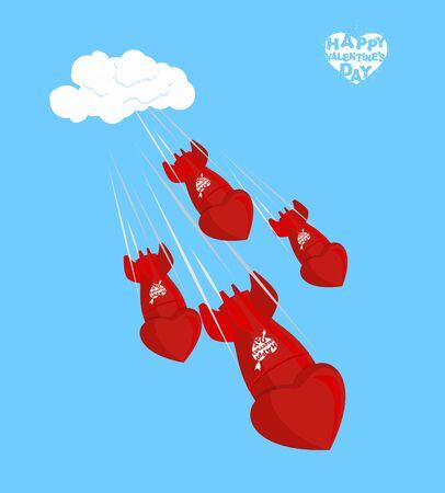 Miłość bomba latać do ziemi 14 lutego. Walentynki. Muszle, naładowana miłością. Czerwone pociski masowego rażenia. Torpedy wylatują z chmur. Spadające serca. Ilustracje wektorowe