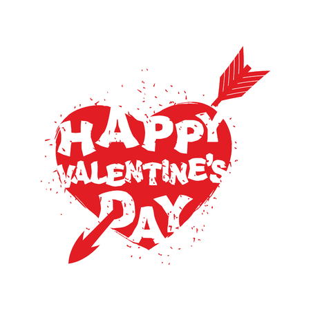 day saint valentin: Happy Valentines Day sign. Logo of heart with an arrow. Logo for holiday in February. All day lovers. 14 February.