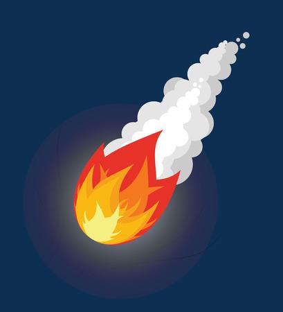 流星を飛んでいます。煙で火の玉。彗星の空を飛んでいます。宇宙の小惑星は、夜を天から落ちる。  イラスト・ベクター素材