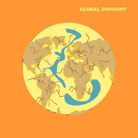 地球上の干ばつ。自然災害乾燥の地球と sparilas 水、海。地球の地殻に亀裂。グローブ破壊。世界の解体。地球の大陸の破壊。環境災害