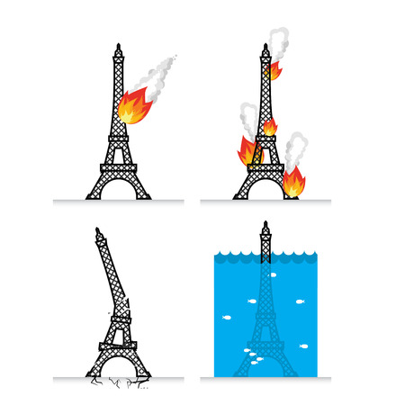 Destruction of Eiffel Tower in Paris. Meteorite flies symbol of France. Fire in sights. Lit Eiffel Tower. Natural disasters in France. Earthquake destroyed  Eiffel Tower. Cracks and chips. flood in Paris. Flooding  French attractions. cataclysm earth