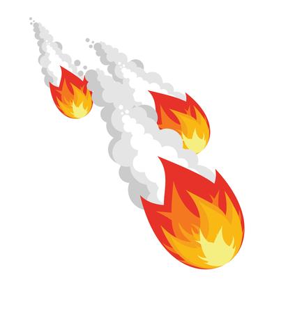 白い背景の上の落下隕石。空気中のグループの宇宙の小惑星。白い煙と火の球。燃えるような彗星の尾。空間オブジェクト。