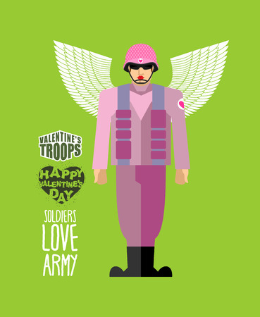 february 14: Soldiers love army. Cupid in uniform. Helmet and body armor. Military officer with wings. Valentines troops. Funny character for Valentines day on February 14.
