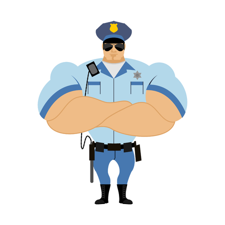 lightbar: Police officer. Man in form of policing. Police man in bodybuilder shirt. Strong guardian of  law in CAP and with police baton. Hard strong police folded hands on chest. Illustration