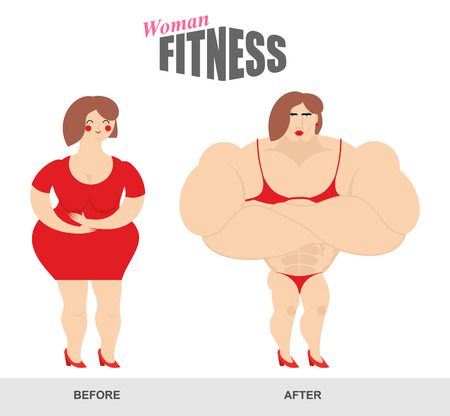 big belly: Womens fitness. Woman body before and after. Sports exercise and athletic figure. Fat woman and woman bodybuilder. Fat girl with big belly. Strong lady with big muscles. body shape before and after workouts fitness. Female bodybuilding athletic in bikini