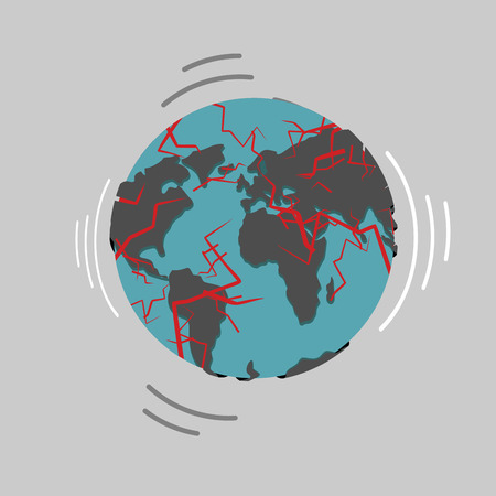 Earthquake. Earth destruction. Disaster fracture of the Earths crust. Destruction of world. Continents of planet with cracks. Red magma in planets surface. Shattered globe. Apocalypse and disaster on world map.