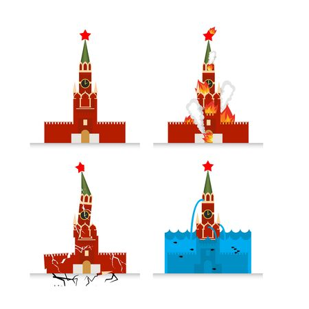 Destruction of Moscow Kremlin. Meteorite flies symbol of Russia. Fire in sights. Burns Tower of Kremlin. Natural disasters in Russia. Earthquake destroyed Moscow Kremlin. Cracks and chips. Flooding in Moscow. Flooding Russian attractions.