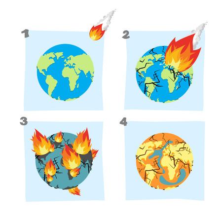 隕石を地球に落ちる。小惑星は、惑星に飛ぶ。地面に衝突、地球の地殻を分割します。地球の亀裂。地球と大陸の火は燃える世界的な干ばつ。海を乾燥。地球上の砂漠。普遍的な大惨事。
