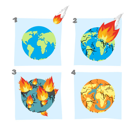 Fall  meteorite impact on Earth. An asteroid flies on planet. Hit ground, split Earths crust. Cracks in planet Earth. Fire Burns on planet Earth, and continents. Global drought. Dry up ocean. Desert on Earth. Universal catastrophe.