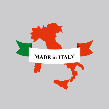 made in italy: Made in Italy product logo. Map of Italy and Ribbon with colors of Italian flag. Label template for production.