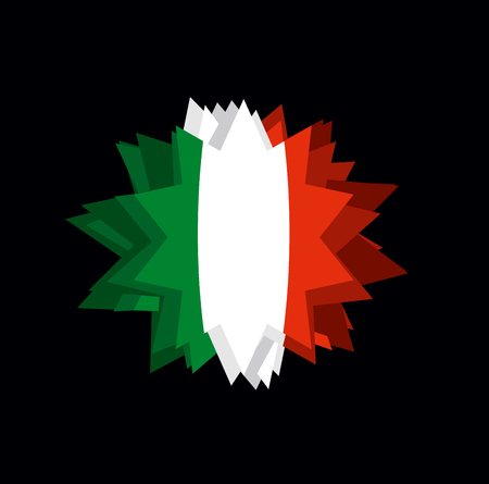 Flag Italy Pointed star. Abstract flag of Italian State. Barb on black background. crystal Italy Illustration