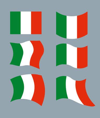 all european flags: Italy Flag. Developing Italian flag. Set various flags of Italian State. Patriotic emblem of State.
