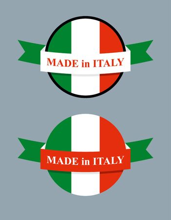 made manufacture manufactured: Made in Italy product logo. Map of Italy and Ribbon with colors of Italian flag. Label template for production.